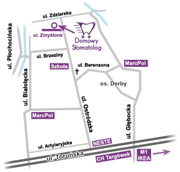 Mapka dojazdu do siedziby firmy DomowyStomatolog
