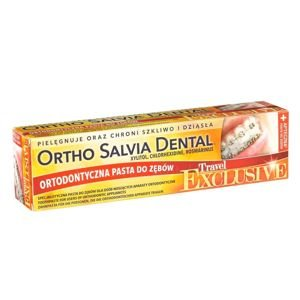 Ortho Salvia Dental Exclusive Travel (żółta) 75 ml - uniwersalna pasta do zębów dla podróżujących osób noszących aparaty ortodontyczne